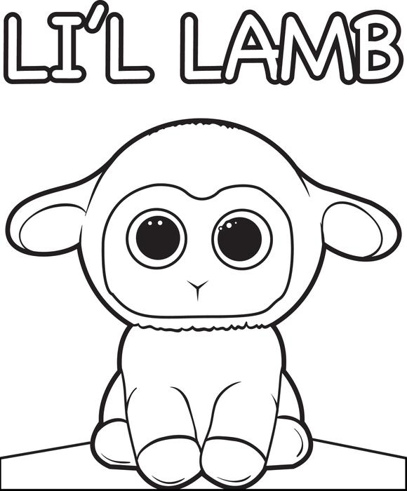 580x700 Free, Printable Cartoon Lamb Coloring Page For Kids