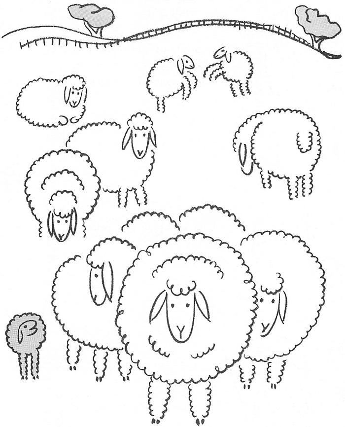 700x866 How To Draw Sheep Grazing In A Field Easy For Young Kids