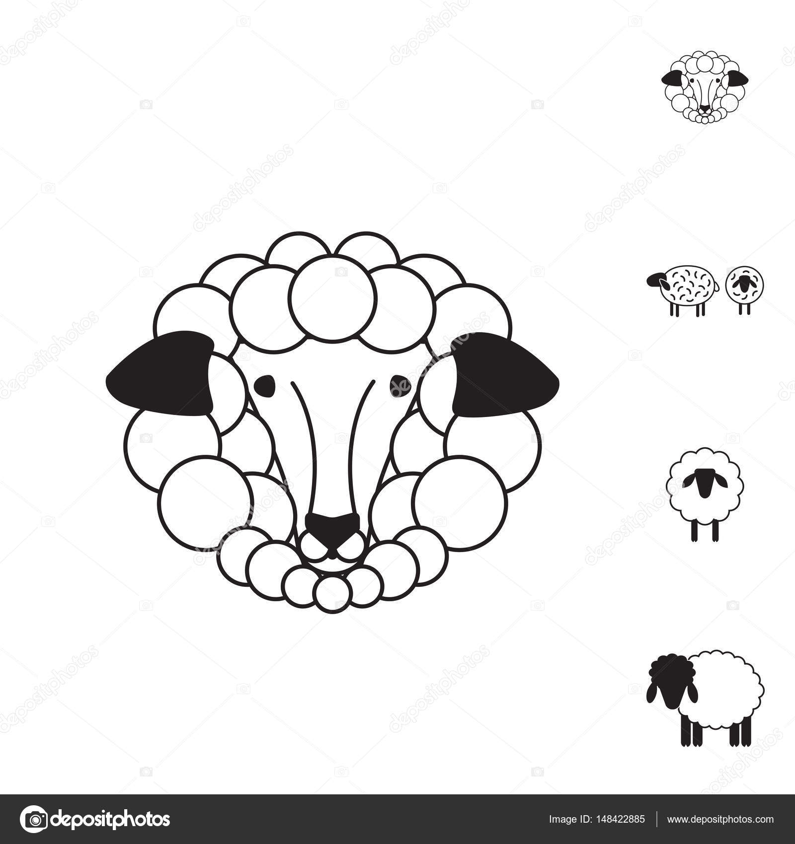 1600x1700 Sheep Or Ram Icon, Logo, Template, Pictogram Stock Vector