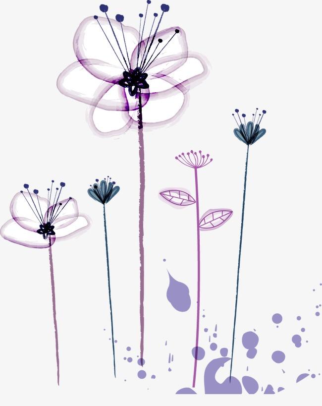 650x819 Simple Hand Painted Purple Flower Pattern, Hand Painted, Purple