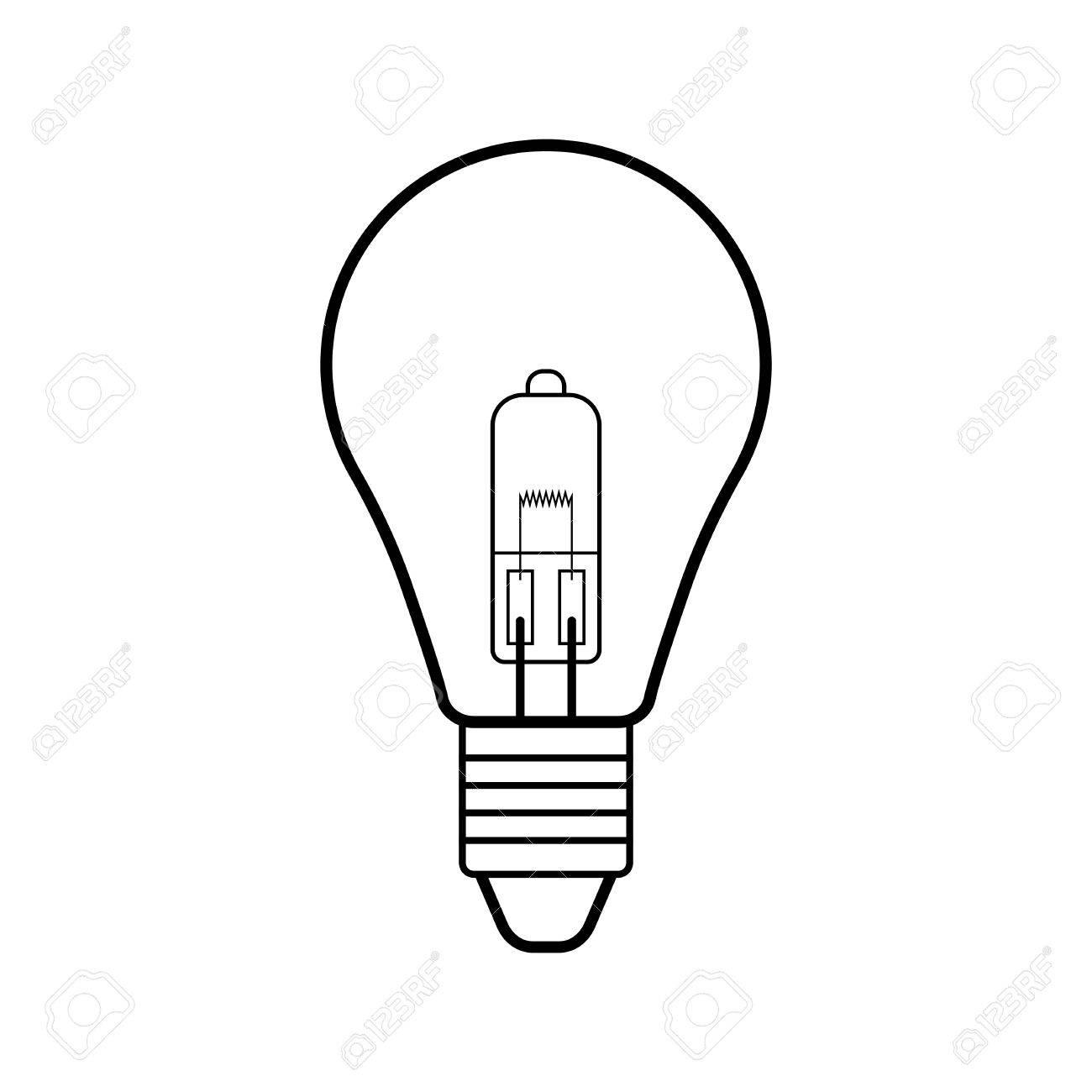 1300x1300 Halogen Light Bulb. Flat Linear Icon. Lighting Equipment. Energy
