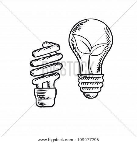 450x470 Sketch Save Energy Old Light Bulb Vector Amp Photo Bigstock