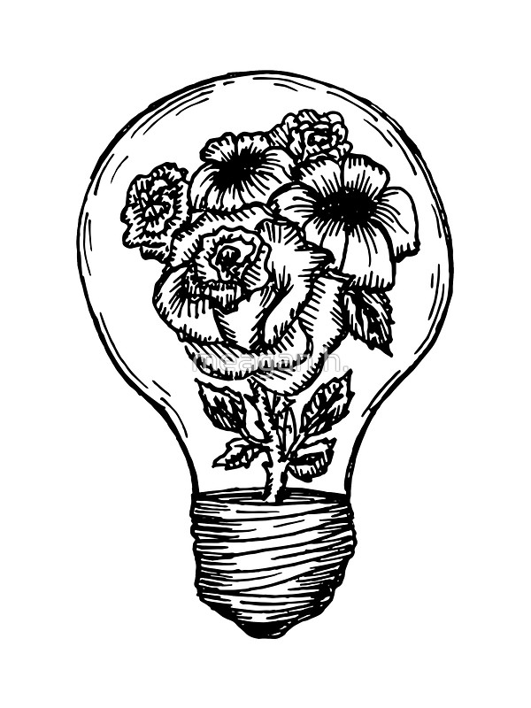 600x800 Flower Lightbulb By Meagan H. Stickers Lightbulb