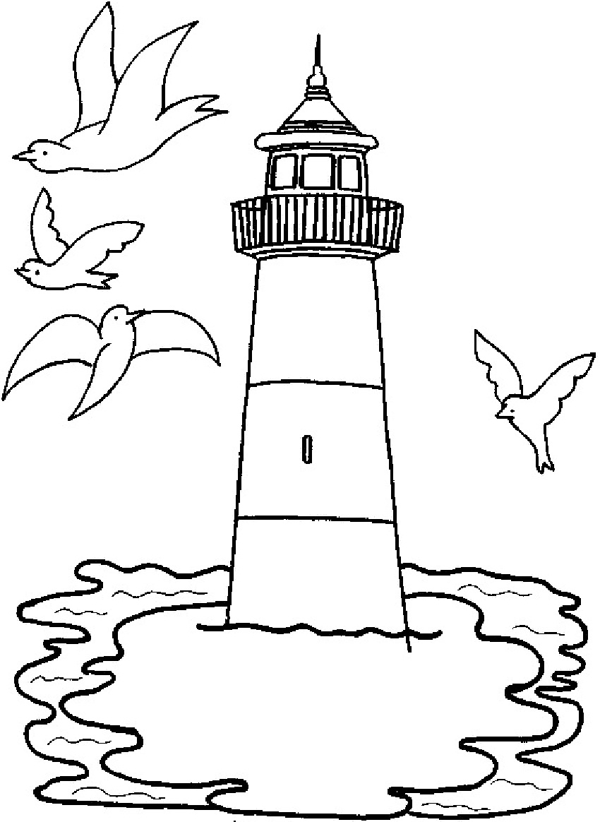 850x1164 Easy Lighthouse Coloring Pages Book