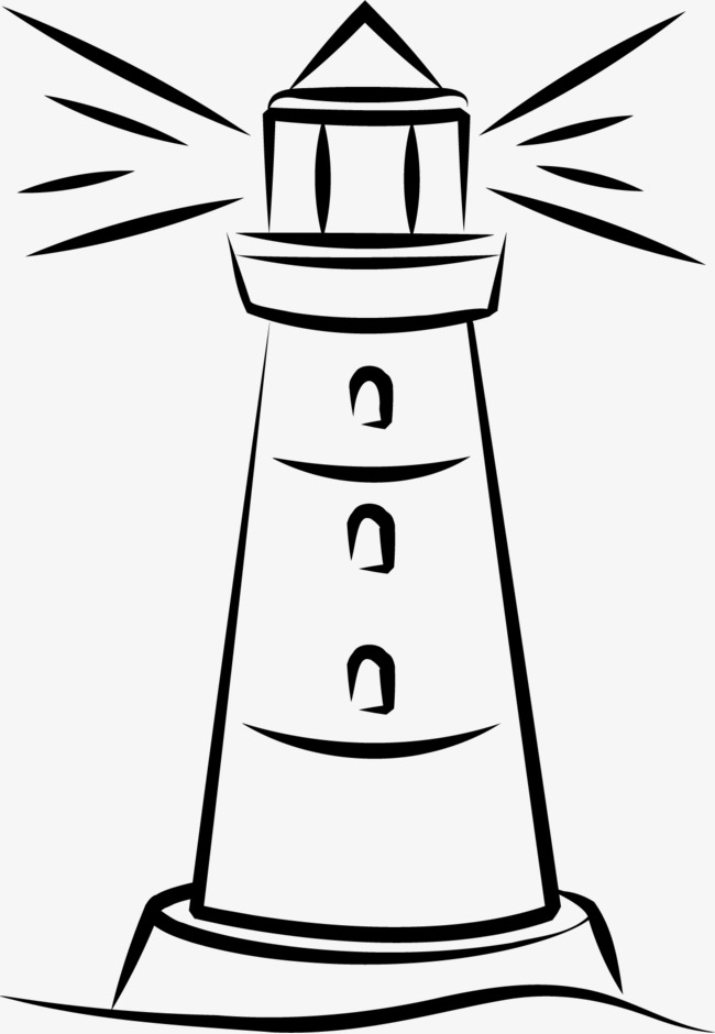 650x940 Hand Painted Lighthouse, Black, Silhouette, Colour Png Image
