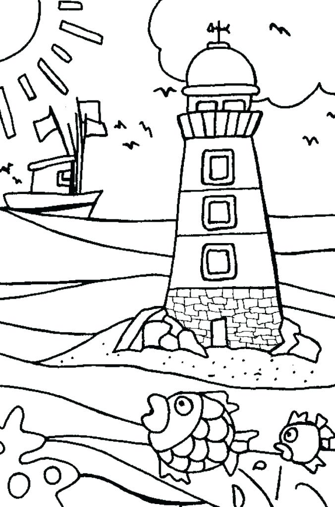 676x1024 Simple Lighthouse Coloring Pages New For Preschool Free Printable