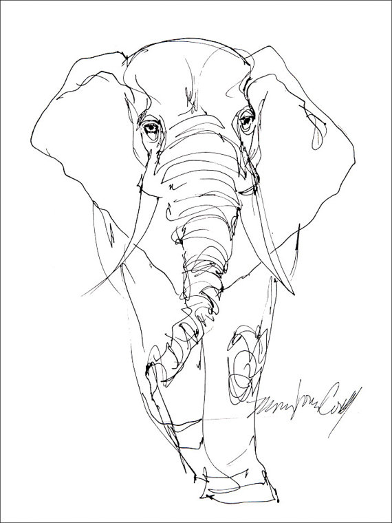Simple Line Drawing Elephant At Getdrawings Free For Personal