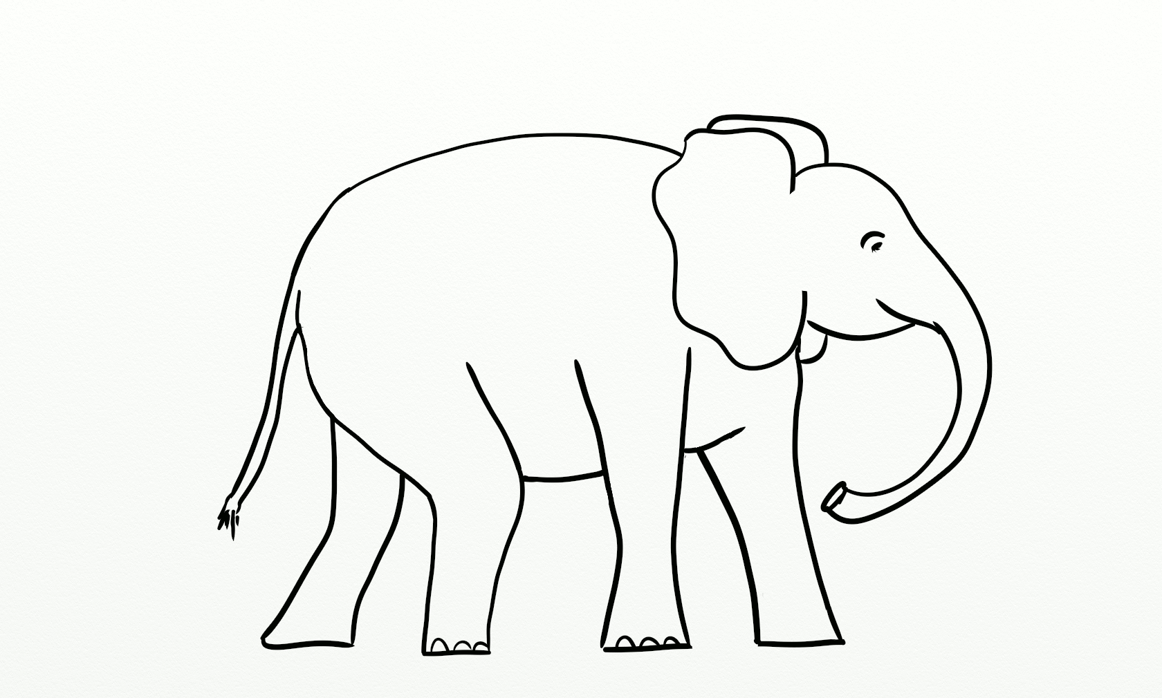 image about Elephant Template Printable referred to as Easy Line Drawing Elephant at  Absolutely free for