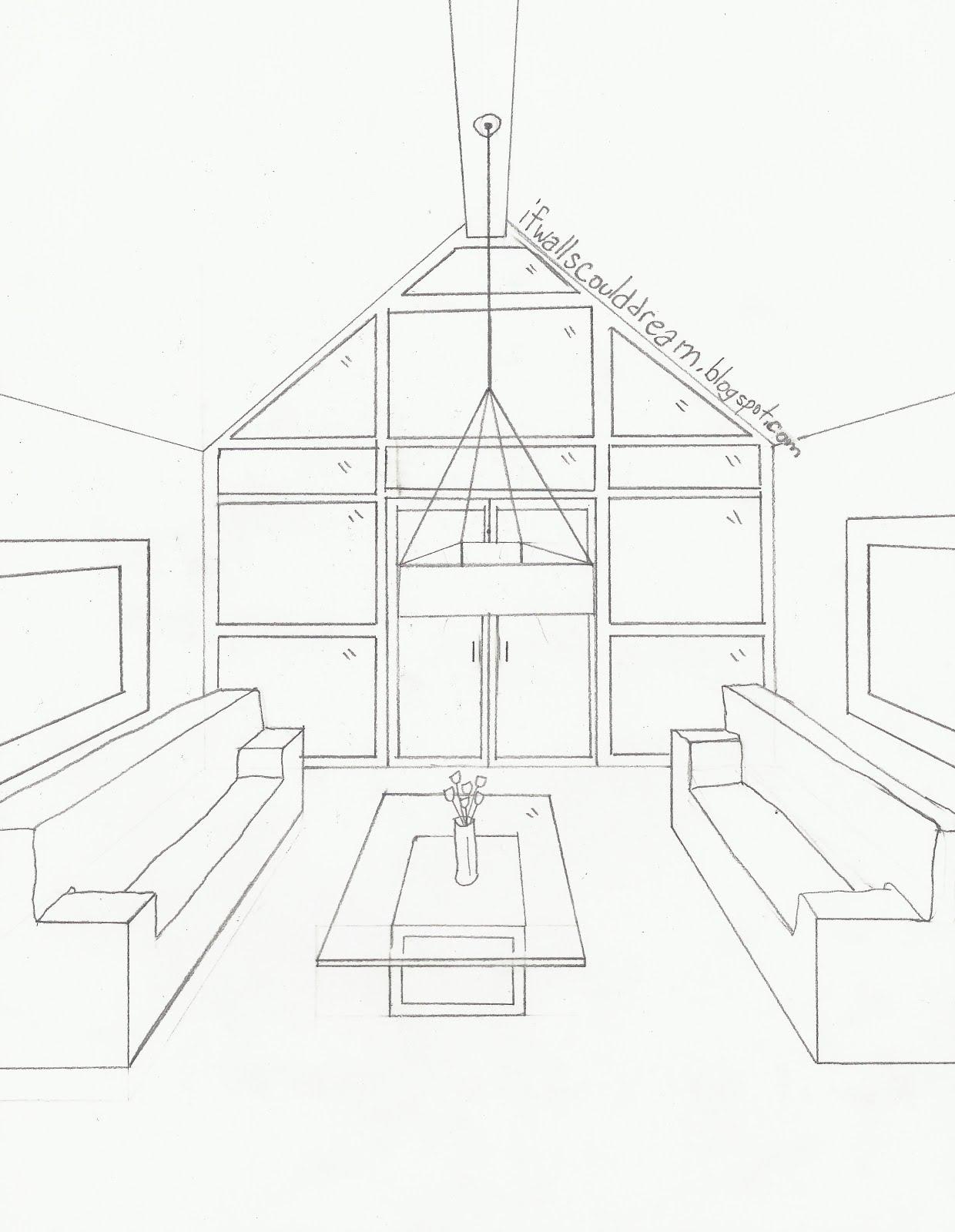 Living Room Sketch: Simple Line Drawing Of House At GetDrawings