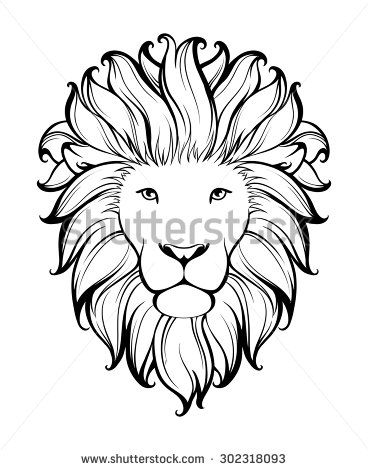 Simple Lion Face Drawing