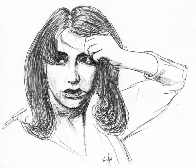794x680 A Girl Pulling Her Hair People. Drawings. Pictures. Drawings