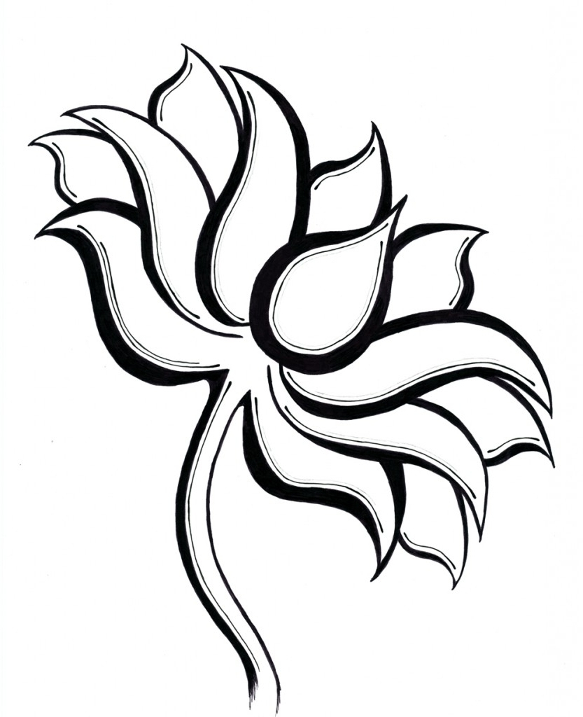 how to draw a simple lotus flower