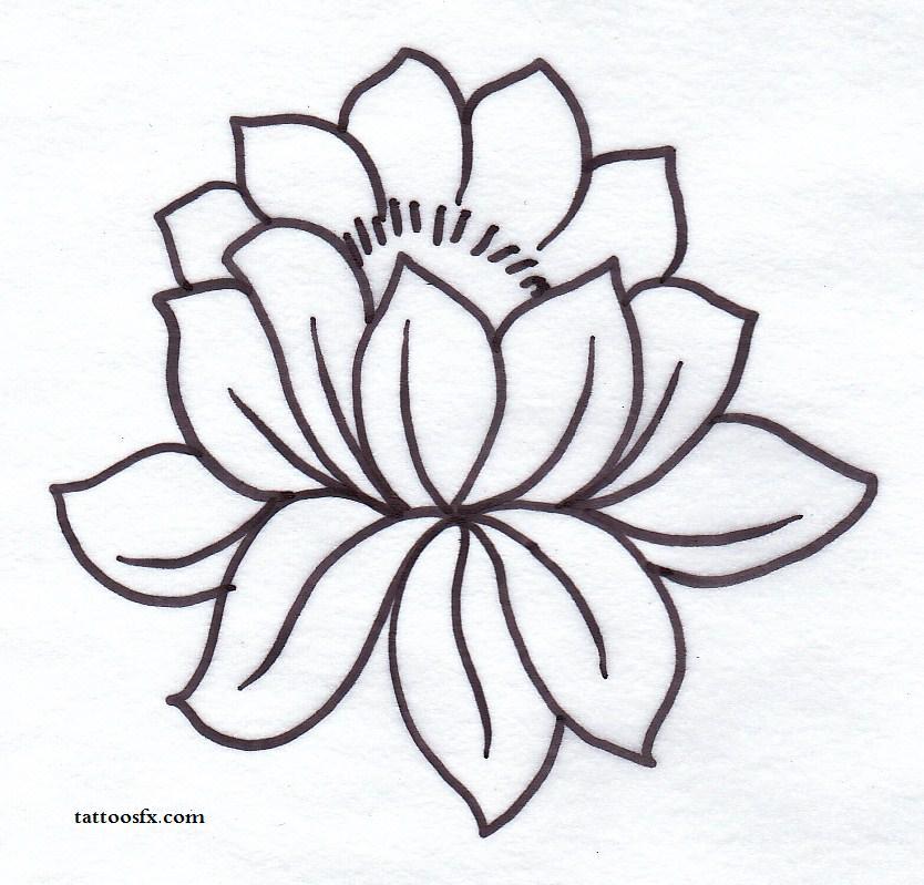 834x799 Simple Black Outline Lotus Flower Tattoo Stencil