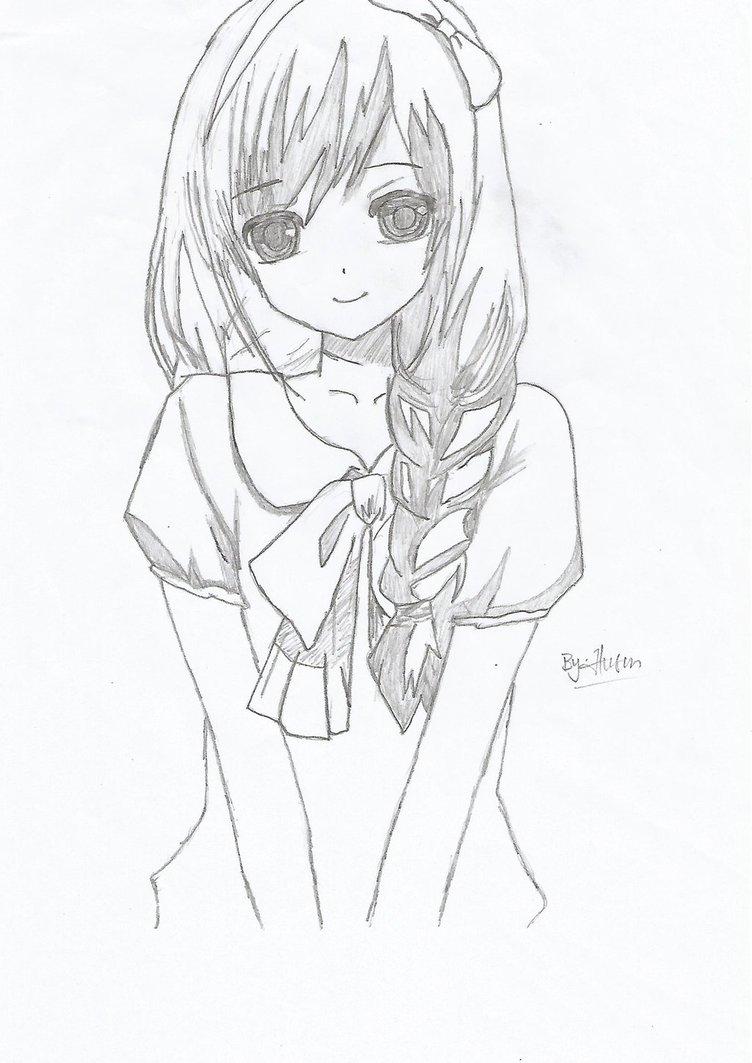 752x1063 Anime Drawings Girl Easy Simple Anime Girl Drawing Easy Manga Girl