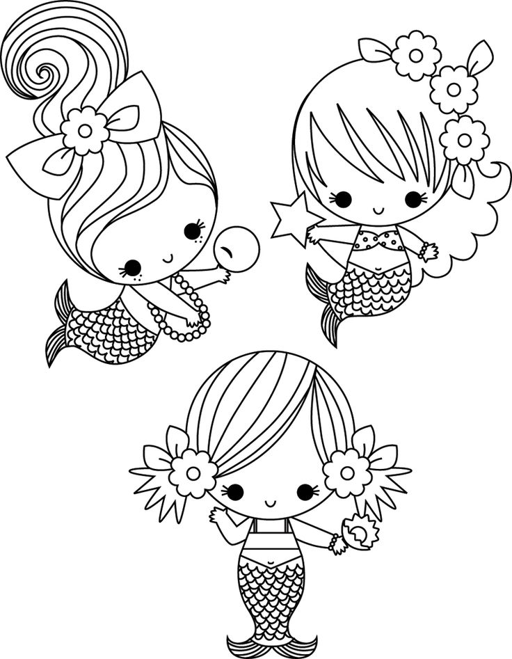 736x947 Cute Mermaid Coloring Pages