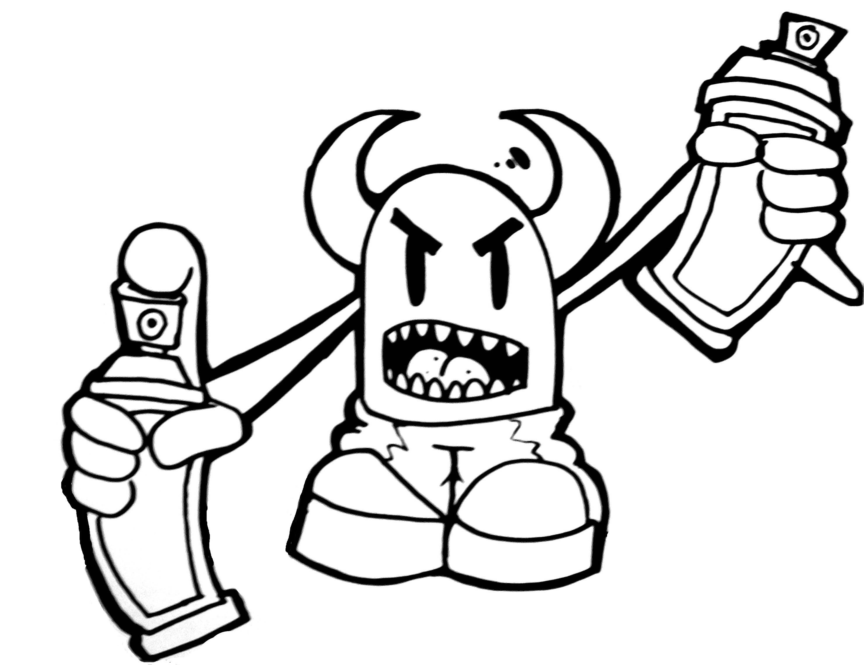 2958x2280 Graffiti Monster Doodle Doodle Graffiti Simple Tag Doodle Art