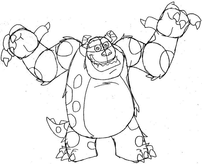 700x568 How To Draw Sulley From Monsters Inc. With Easy Step By Step