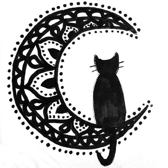 640x640 Cat Sitting On A Mandala Moon El Arte Cat Sitting