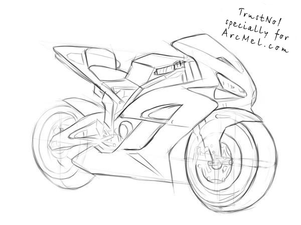 600x450 How To Draw A Motorbike Step By Step