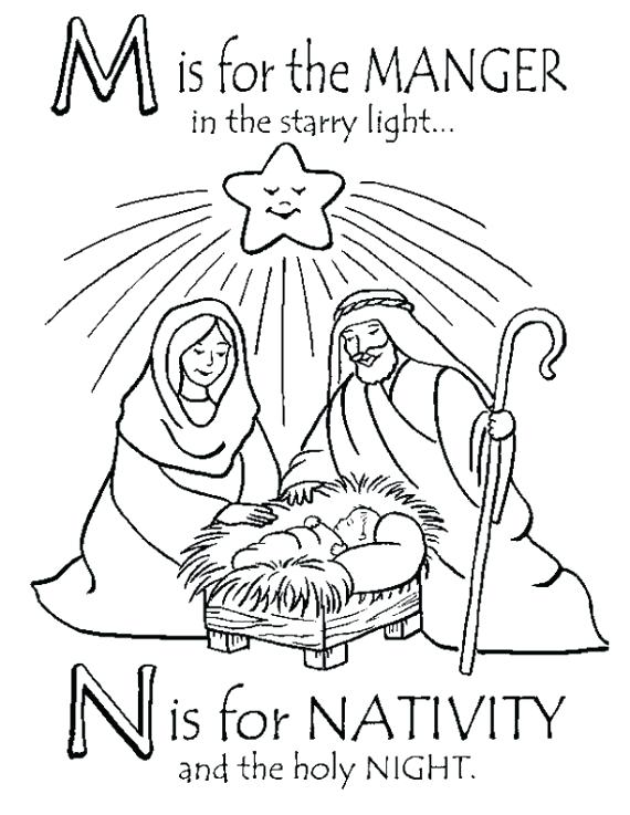 570x737 Manger Scene Coloring Page Precious Moments Nativity Coloring