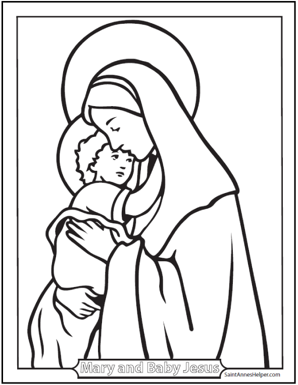 590x762 Printable Christmas Coloring Pages Jesus Amp Mary, Nativity Scenes