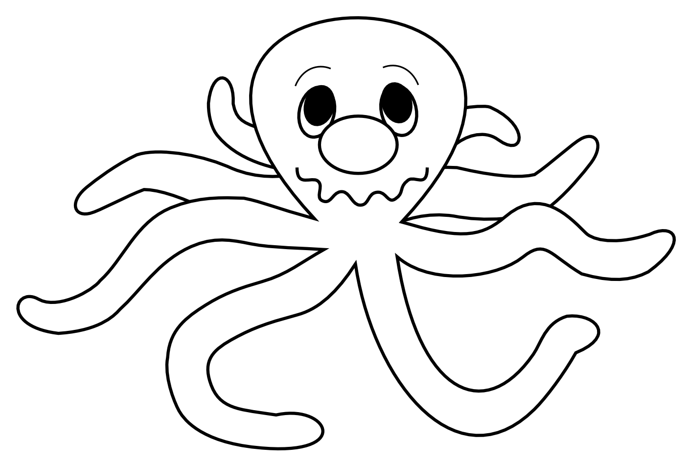 1408x948 Octopus Black And White Octopus Clipart Outline Clipartfox 2