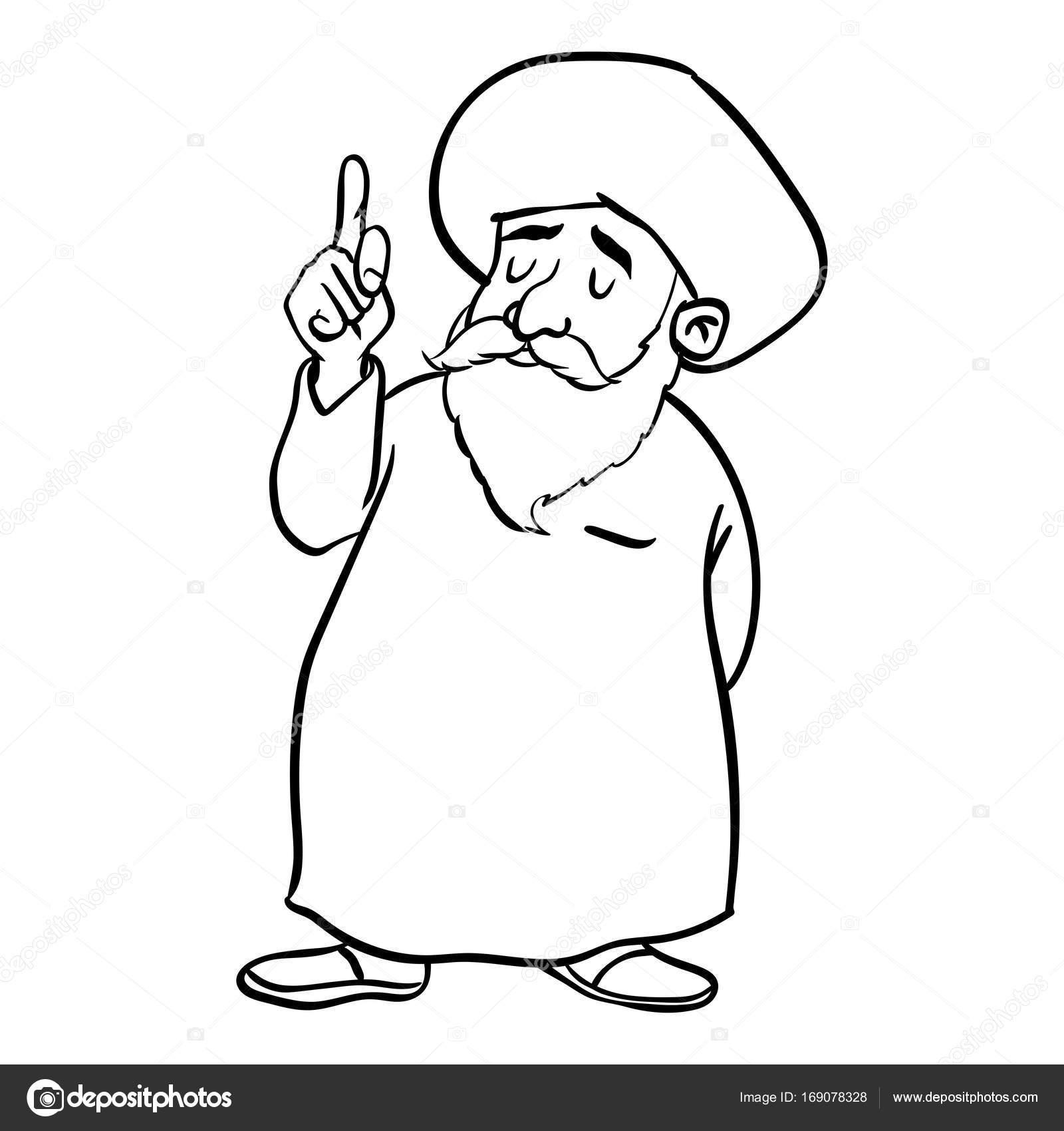 1600x1700 Cartoon Muslim Old Man Standing Vector Drawn Stock Vector