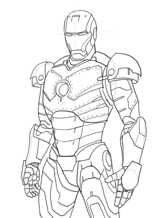 550x759 How To Draw Iron Man Mk 2