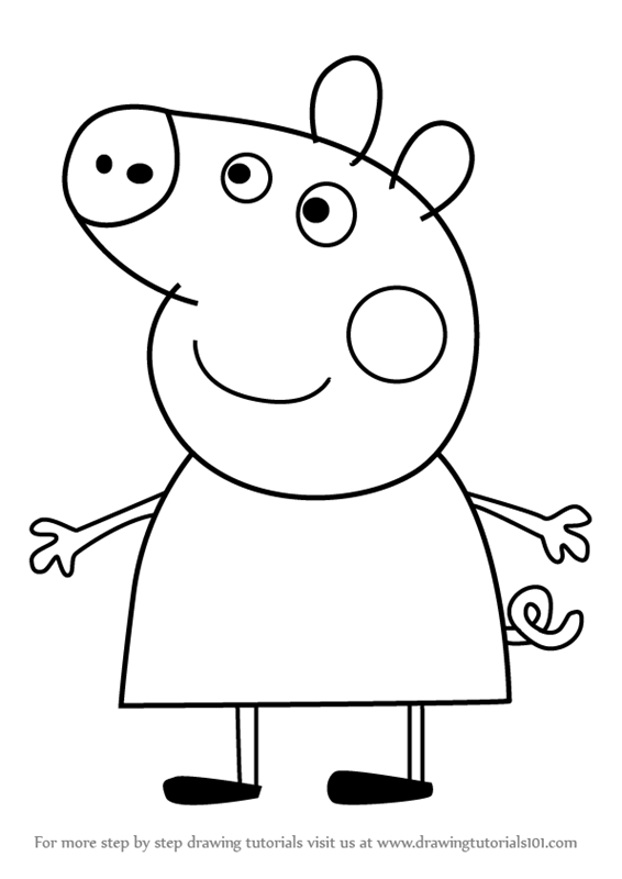 566x800 Learn How To Draw Peppa Pig From Peppa Pig (Peppa Pig) Step By