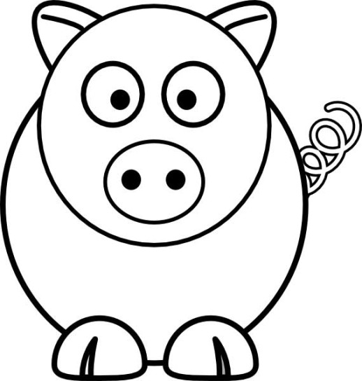 518x544 Simple Pig Coloring Pages Preschool Art Basics