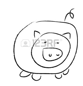 337x350 Pig Simple Drawing Of A Pig, Image, Black And White Pigs