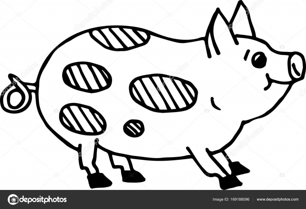 1024x701 Cute Pig. Simple Flat Style. For Painting Stock Vector