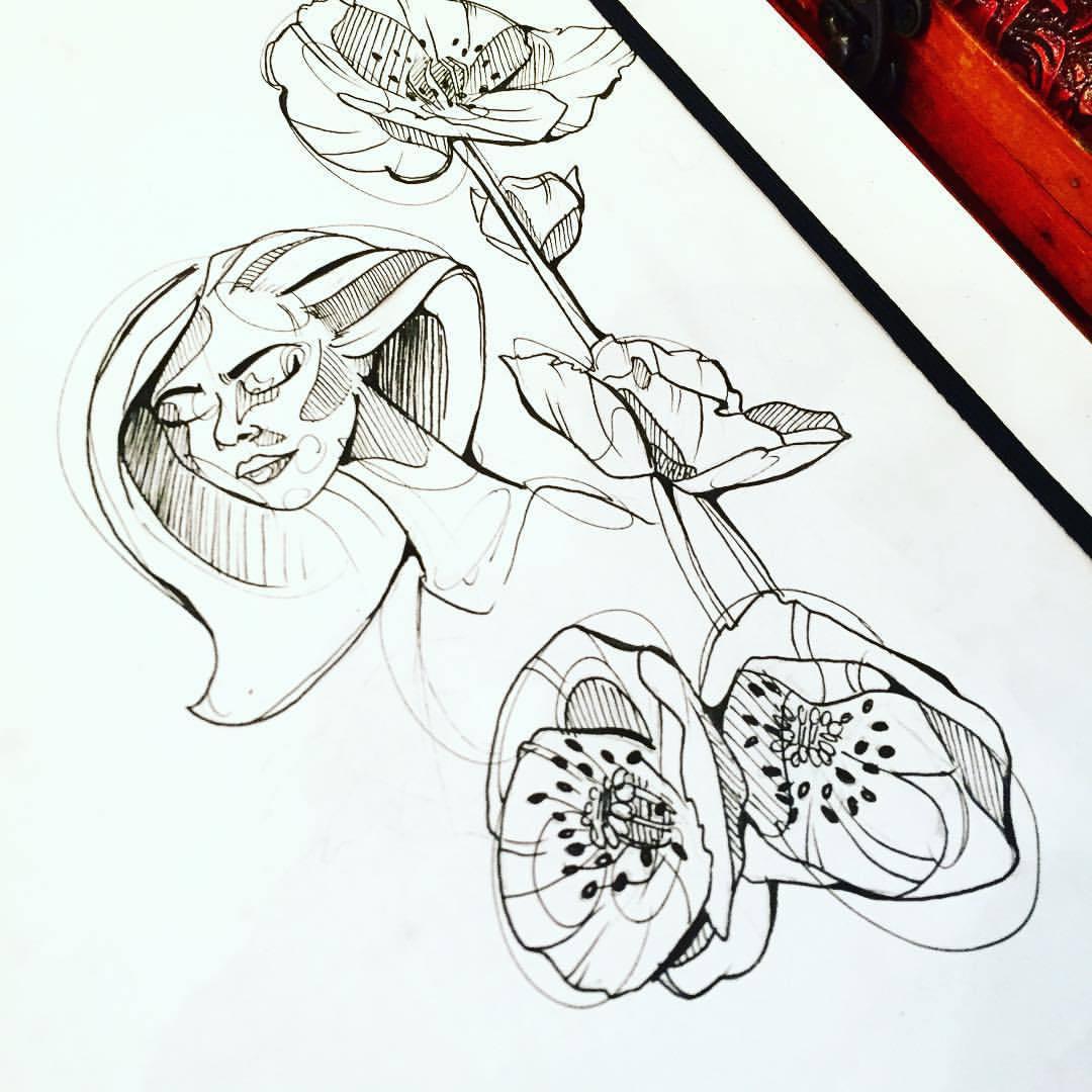 1080x1080 Drawn Poppy Line Drawing