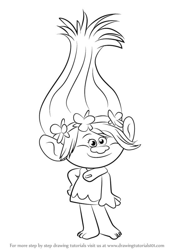 566x800 Learn How To Draw Princess Poppy From Trolls (Trolls) Step By Step