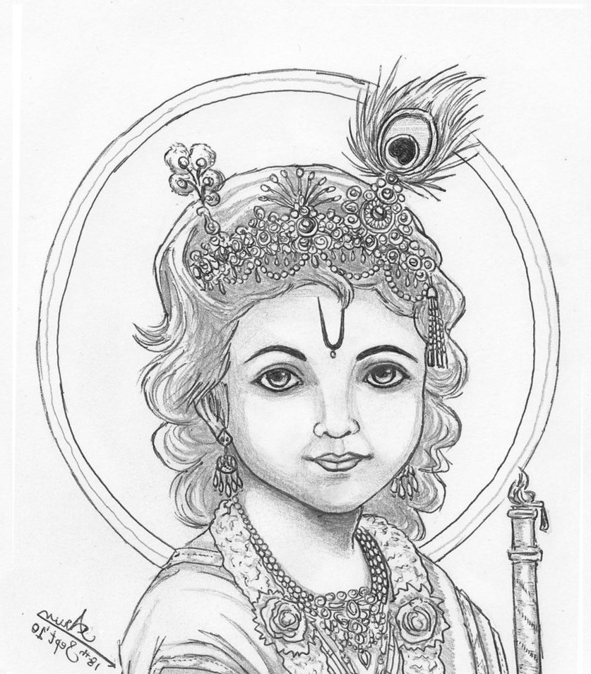 837x954 Simple Little Krishna Face Drawing Little Krishna By Nairarun15