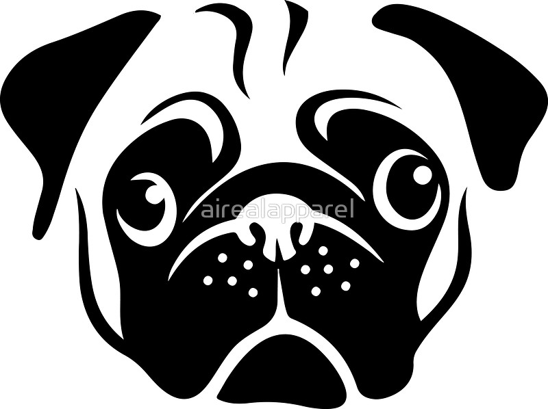 800x598 Cute Pug Face By Aireal Apparel Stickers By Airealapparel Redbubble