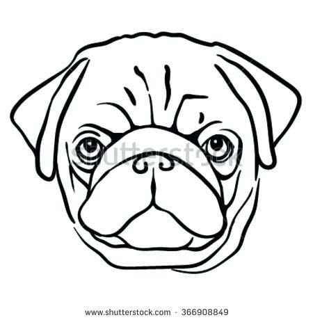 450x460 Dog Face Outline Drawn Pug Outline 2 Dog Face Outline Tattoo