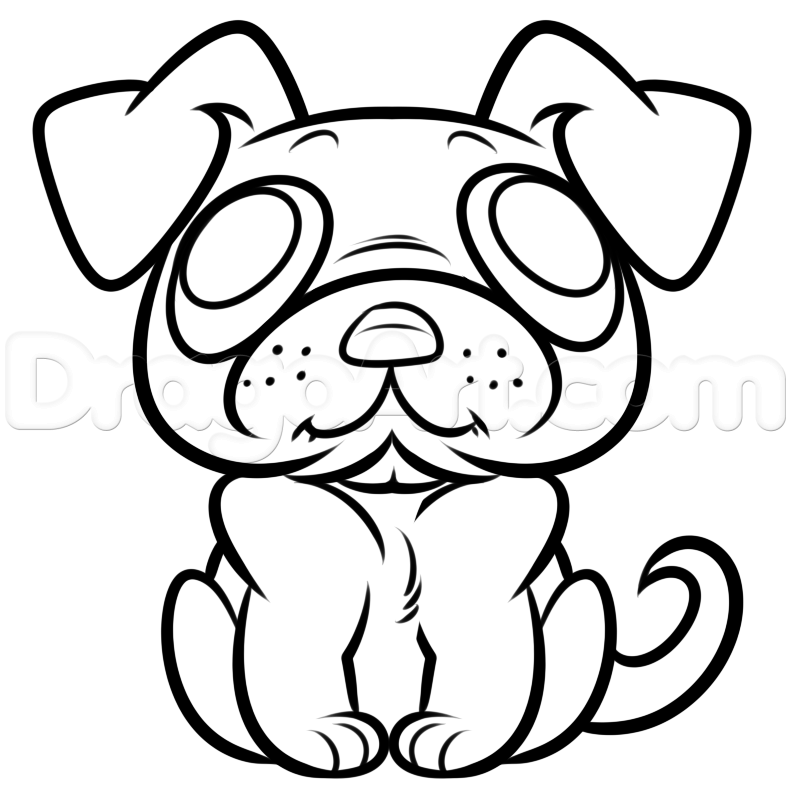 791x794 Draw A Pug Easy Step 5 Mis Dibujos Creatures