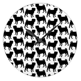 324x324 Black Pug Wall Clocks Zazzle