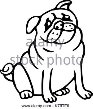 300x352 Cartoon Pug Is A Simple Illustration. Dog Character Is Flat Style