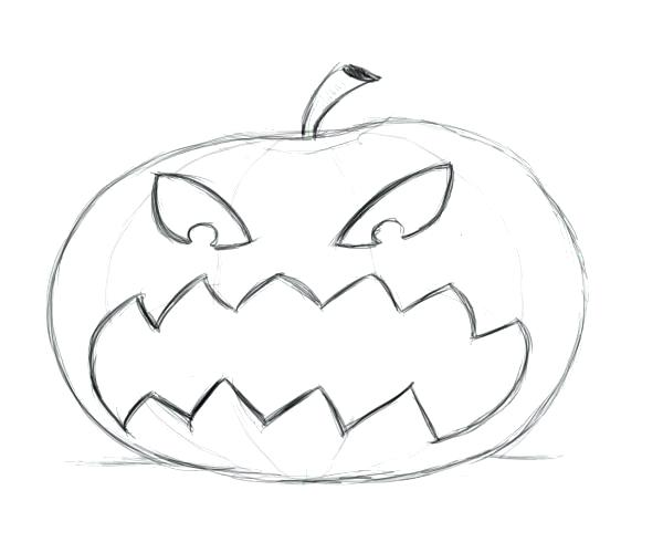 600x500 Pumpkin Drawing Vector Hand Drawn Pumpkins And Leaves Autumn