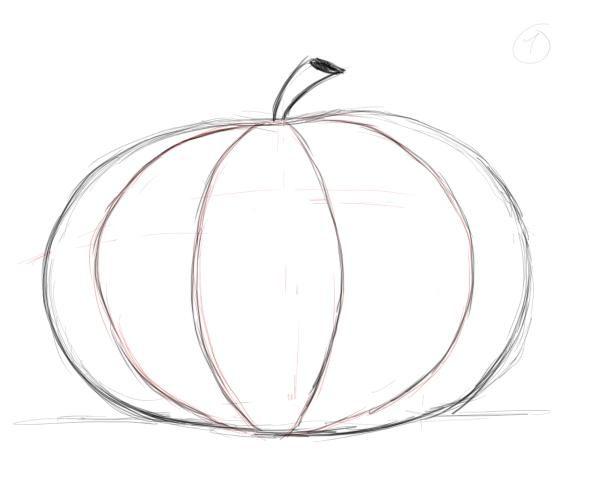 600x500 Simple Pumpkin Drawing Cyberuse