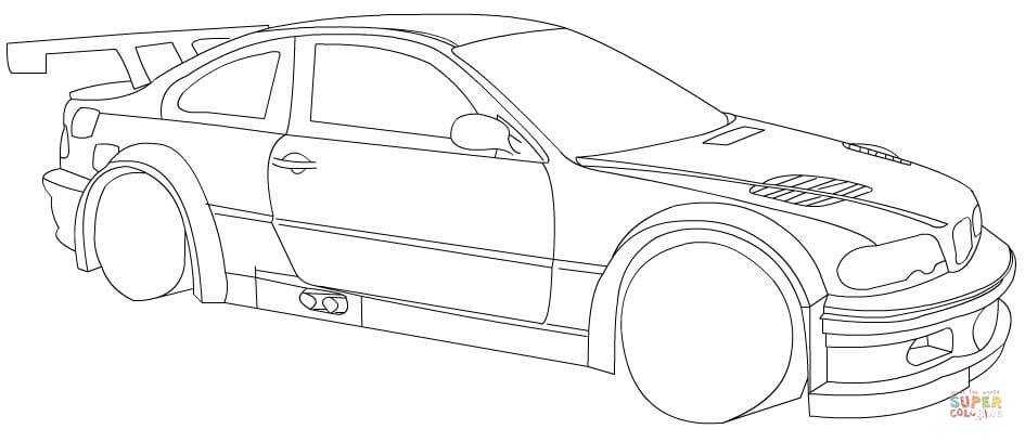 945x408 BMW Racing Car Coloring Page Free Printable Pages