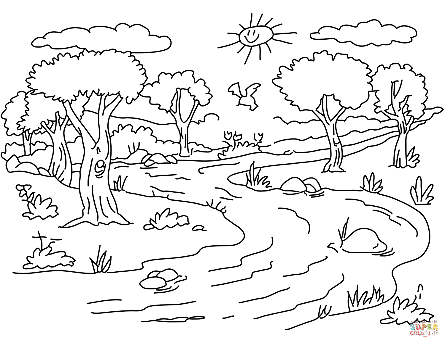1500x1159 River Landscape Coloring Page Free Printable Pages