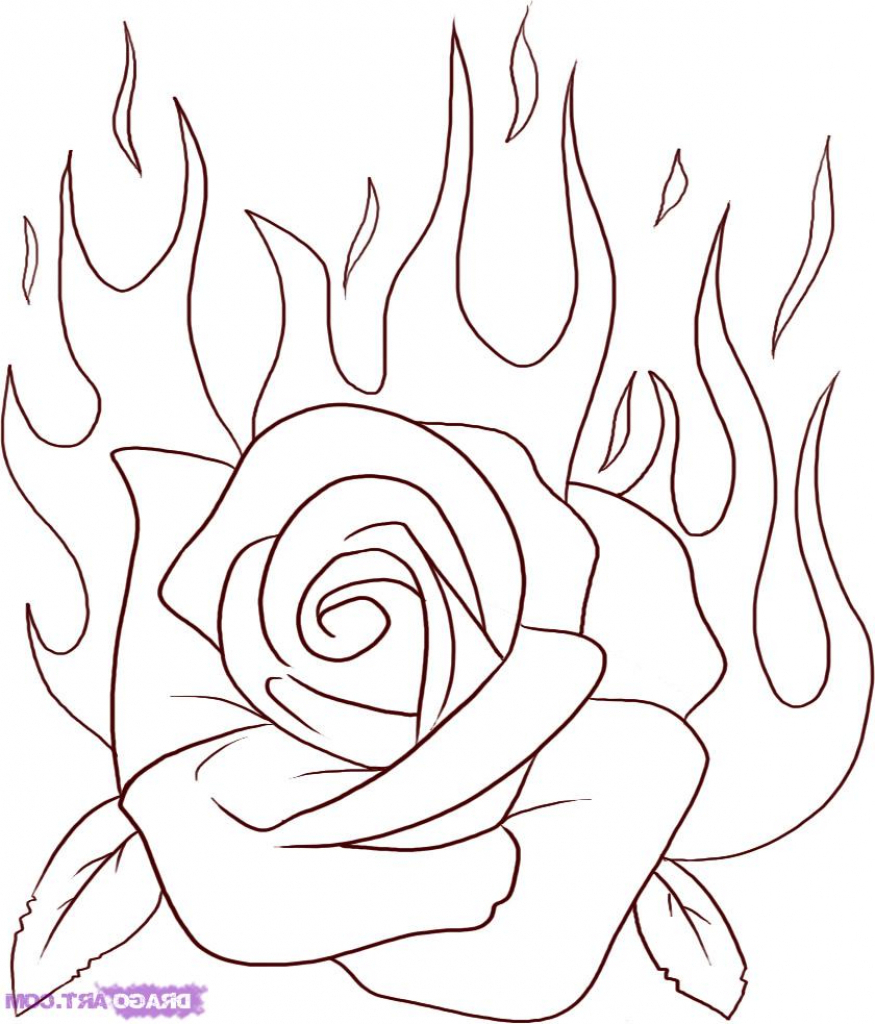 875x1024 Simple Rose Drawing Step By Step How To Draw A Flaming Rose Step