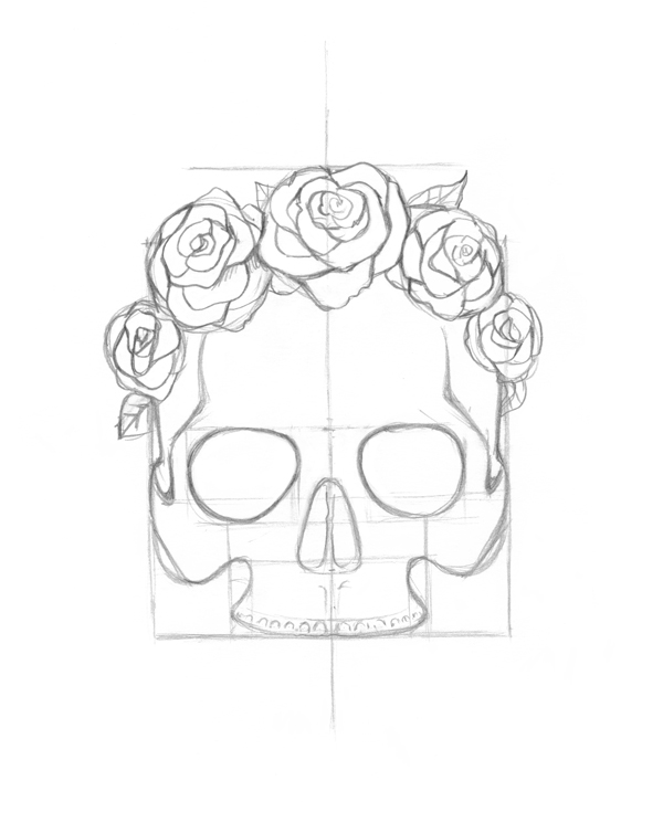 600x745 Use Ink Liners To Create A Skull And Roses Drawing
