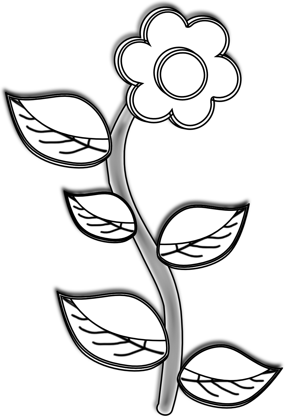 999x1456 Flower Drawing Clipart