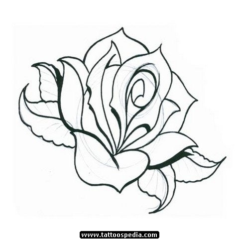 Simple Rose Drawing Tattoo