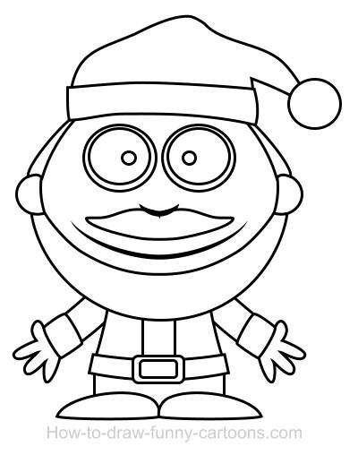 400x508 Drawing A Santa Cartoon
