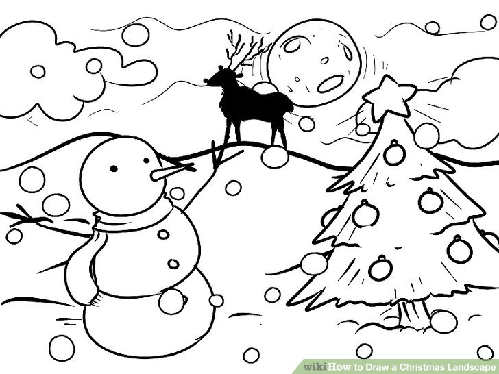 728x546 How To Draw A Christmas Landscape 12 Steps (With Pictures)